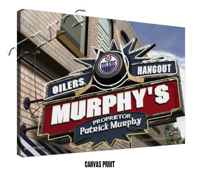 Personalized Edmonton Oilers NHL Sports Room Pub Sign - Canvas Mounted Print