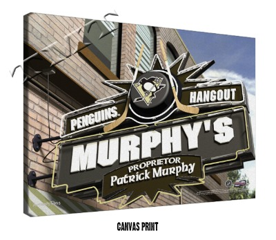 Personalized Pittsburgh Penguins NHL Sports Room Pub Sign - Canvas Mounted Print