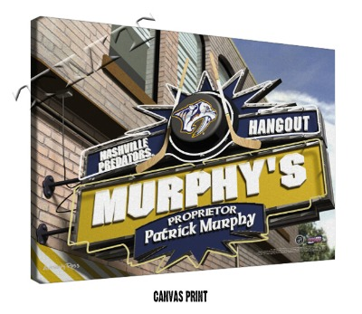Personalized Nashville Predators NHL Sports Room Pub Sign - Canvas Mounted Print