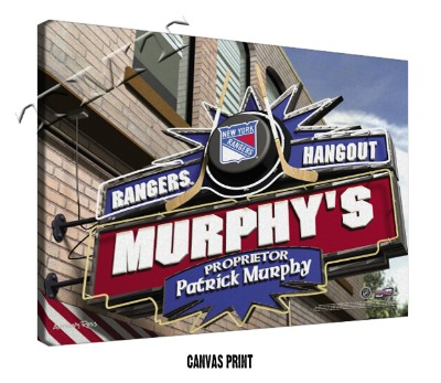 Personalized New York Rangers NHL Sports Room Pub Sign - Canvas Mounted Print