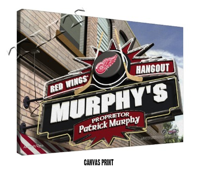 Personalized Detriot Red Wings NHL Sports Room Pub Sign - Canvas Mounted Print