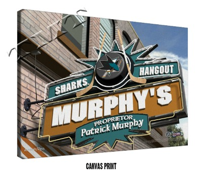 Personalized San Jose Sharks NHL Sports Room Pub Sign - Canvas Mounted Print