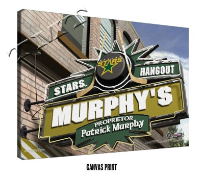 Personalized Dallas Stars NHL Sports Room Pub Sign - Canvas Mounted Print