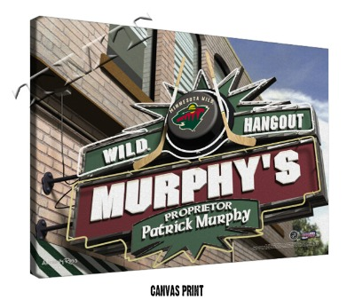 Personalized Minnesota Wild NHL Sports Room Pub Sign - Canvas Mounted Print
