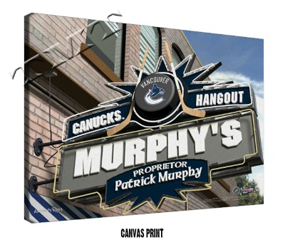 Personalized Vancouver Canucks NHL Sports Room Pub Sign - Canvas Mounted Print