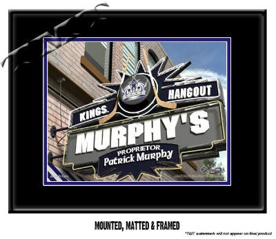 Personalized Los Angeles Kings NHL Sports Room Pub Sign - Matted Framed Print