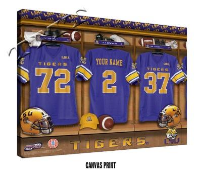 Sample of the Canvas NCAA Football Locker Room Sign -LSU Tigers are shownSample of the Canvas NCAA Football Locker Room