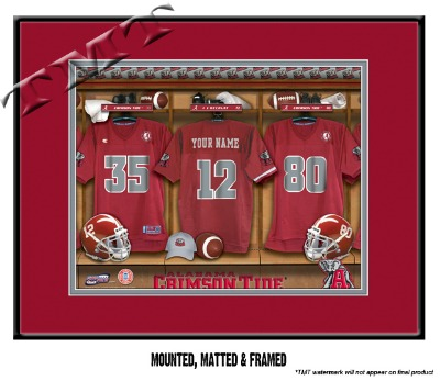 Sample of the Framed & Matted NCAA Football Locker Room Sign - Alabama Crimson Tide are shown