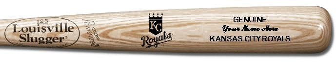 Louisville Slugger Personalized Kansas City Royals Team Logo Baseball Bat - Natural Wood