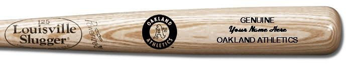 Louisville Slugger Personalized Oakland Athletics Team Logo Baseball Bat - Natural Wood