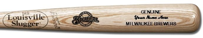 Louisville Slugger Personalized Milwaukee Brewers Team Logo Baseball Bat - Natural Wood