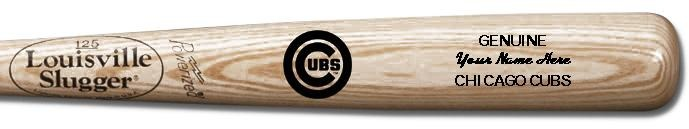Louisville Slugger Personalized Chicago Cubs Team Logo Baseball Bat - Natural Wood