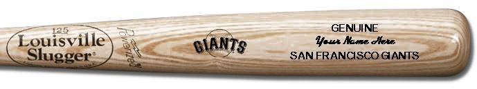 Louisville Slugger Personalized San Francisco Giants Team Logo Baseball Bat - Natural Wood