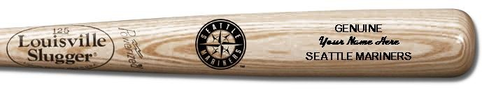 Louisville Slugger Personalized Seattle Mariners Team Logo Baseball Bat - Natural Wood