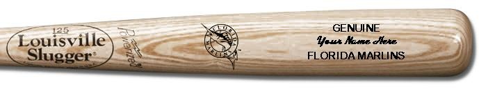 Louisville Slugger Personalized Florida Marlins Team Logo Baseball Bat - Natural Wood