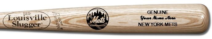 Louisville Slugger Personalized New York Mets Team Logo Baseball Bat - Natural Wood