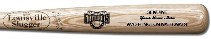 Louisville Slugger Personalized Washington Nationals Team Logo Baseball Bat - Natural Wood