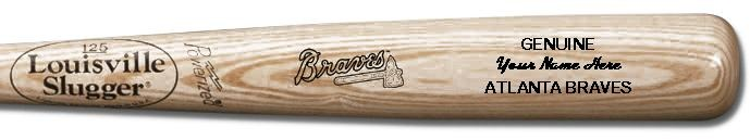 Louisville Slugger Personalized Atlanta Braves Team Logo Baseball Bat - Natural Wood