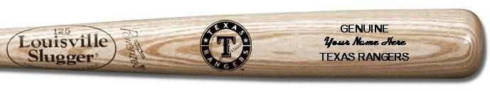 Louisville Slugger Personalized Texas Rangers Team Logo Baseball Bat - Natural Wood