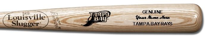 Louisville Slugger Personalized Tampa Bay Rays Team Logo Baseball Bat - Natural Wood