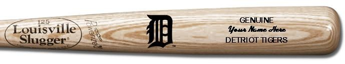 Louisville Slugger Personalized Detroit Tigers Team Logo Baseball Bat - Natural Wood
