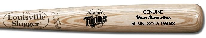 Louisville Slugger Personalized Minnesota Twins Team Logo Baseball Bat - Natural Wood