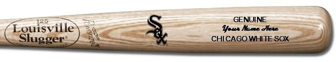 Louisville Slugger Personalized Chicago White Sox Team Logo Baseball Bat - Natural Wood