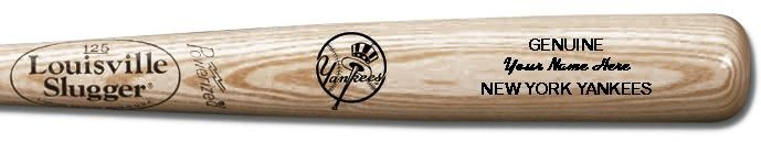 Louisville Slugger Personalized New York Yankees Team Logo Baseball Bat - Natural Wood