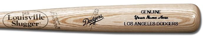 Louisville Slugger Personalized Los Angeles Dodgers Team Logo Baseball Bat - Natural Wood