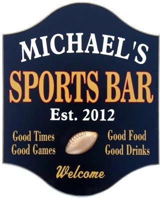 Personalized Sports Bar Sign with a 3D Relief Choice