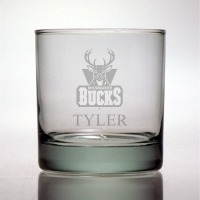 Personalized NBA Basketball Rocks Glass