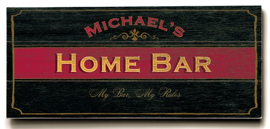 Personalized Home Bar Sign - 3 Planked 10 x 24 Wood Sign - Design Your Own Sign - Sample 1