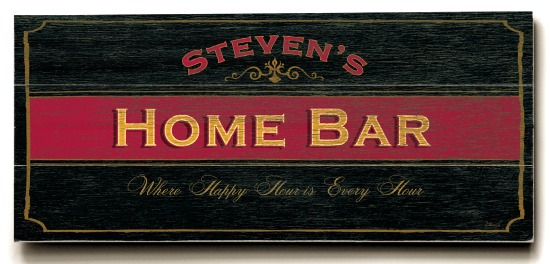 Personalized Home Bar Sign - 3 Planked 10 x 24 Wood Sign - Design Your Own Sign - Sample 3