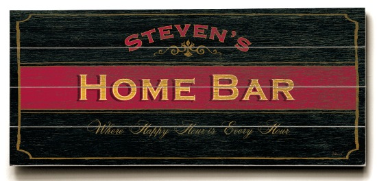Personalized Home Bar Sign - 4 Planked 14 x 32 Wood Sign - Design Your Own Sign - Sample 4