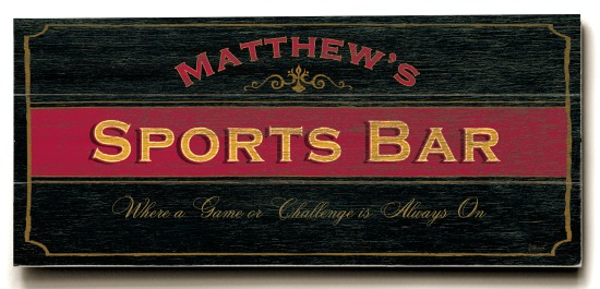 Personalized Sports Bar Sign - 3 Planked 10 x 24 Wood Sign - Design Your Own Sign - Sample 1