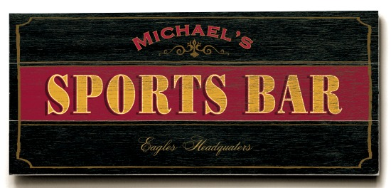 Personalized Sports Bar Sign #2 - 3 Planked 10 x 24 Wood Sign - Design Your Own Sign - Sample 1