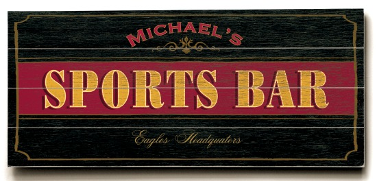 Personalized Sports Bar Sign #2 - 4 Planked 14 x 32 Wood Sign - Design Your Own Sign - Sample 2