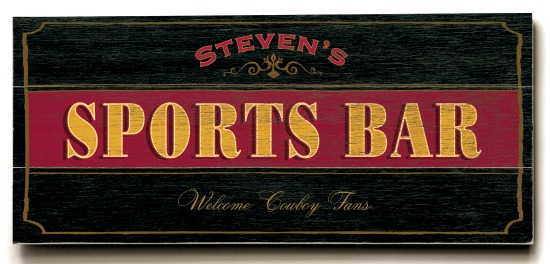 Personalized Sports Bar Sign #2 - 3 Planked 10 x 24 Wood Sign - Design Your Own Sign - Sample 3