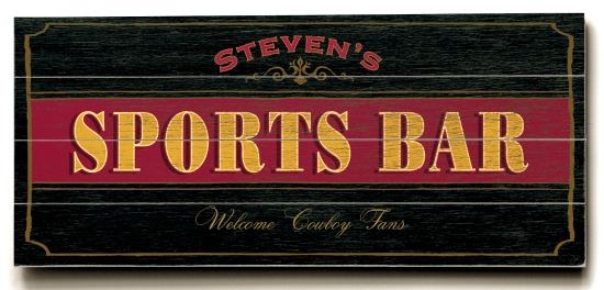 Personalized Sports Bar Sign #2 - 4 Planked 14 x 32 Wood Sign - Design Your Own Sign - Sample 4