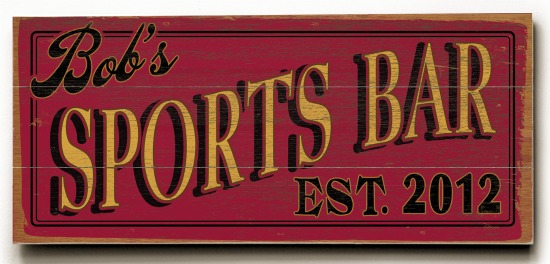Personalized Sports Bar Sign #3 - 3 Planked 10 x 24 Wood Sign - Design Your Own Sign - Sample 1