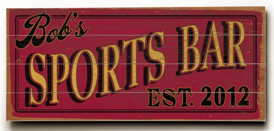 Personalized Sports Bar Sign #3 - 4 Planked 14 x 32 Wood Sign - Design Your Own Sign - Sample 2