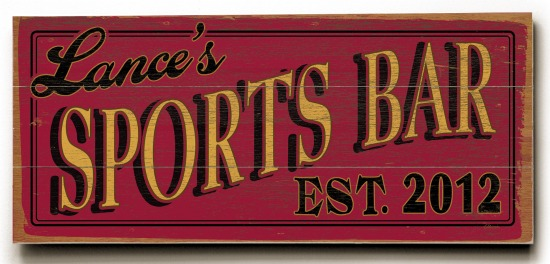 Personalized Sports Bar Sign #3 - 3 Planked 10 x 24 Wood Sign - Design Your Own Sign - Sample 3