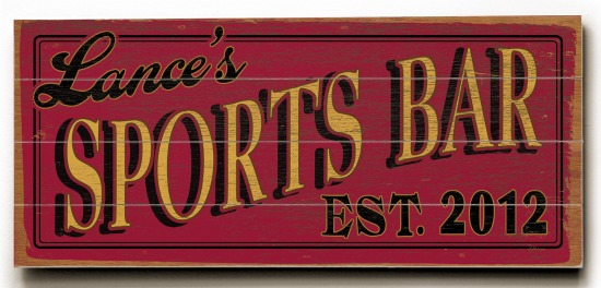 Personalized Sports Bar Sign #3 - 4 Planked 14 x 32 Wood Sign - Design Your Own Sign - Sample 4