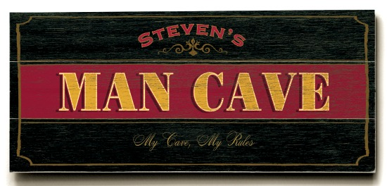 Personalized Man Cave Sign #2 - 3 Planked 10 x 24 Wood Sign - Design Your Own Sign - Sample 1