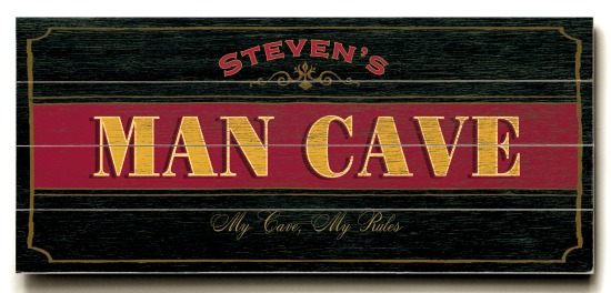 Personalized Man Cave Sign #2 - 4 Planked 14 x 32 Wood Sign - Design Your Own Sign - Sample 2