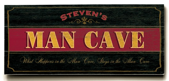 Personalized Man Cave Sign #2 - 3 Planked 10 x 24 Wood Sign - Design Your Own Sign - Sample 3