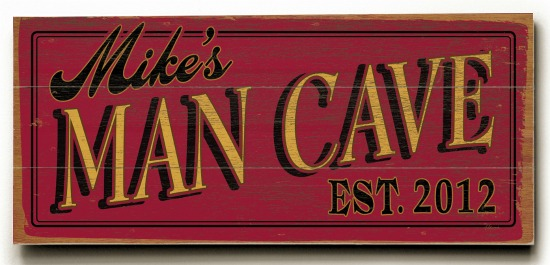 Personalized Man Cave Sign #3 - 3 Planked 10 x 24 Wood Sign - Design Your Own Sign - Sample 1