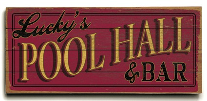 Personalized Pool Hall Sign #3 - 4 Planked 14 x 32 Wood Sign - Design Your Own Sign - Sample 3