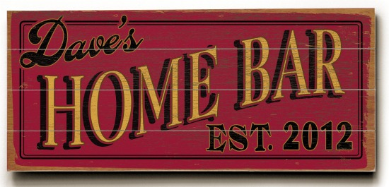 Personalized Home Bar Sign #3 - 4 Planked 14 x 32 Wood Sign - Design Your Own Sign - Sample 2