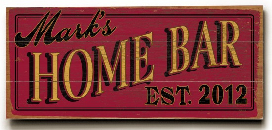 Personalized Home Bar Sign #3 - 3 Planked 10 x 24 Wood Sign - Design Your Own Sign - Sample 3